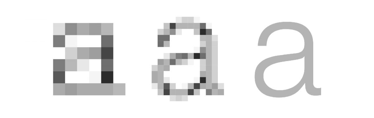 rendu MDPI, XHDPI et tracé d'un a Helvetica Light en corps 11,5 px