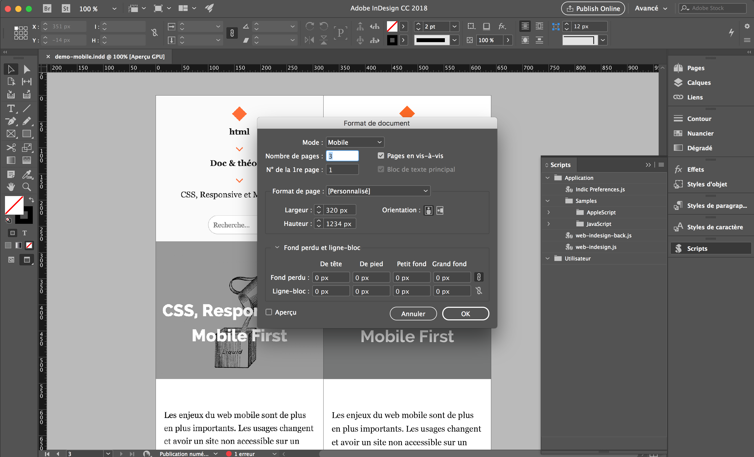 setup indesign web