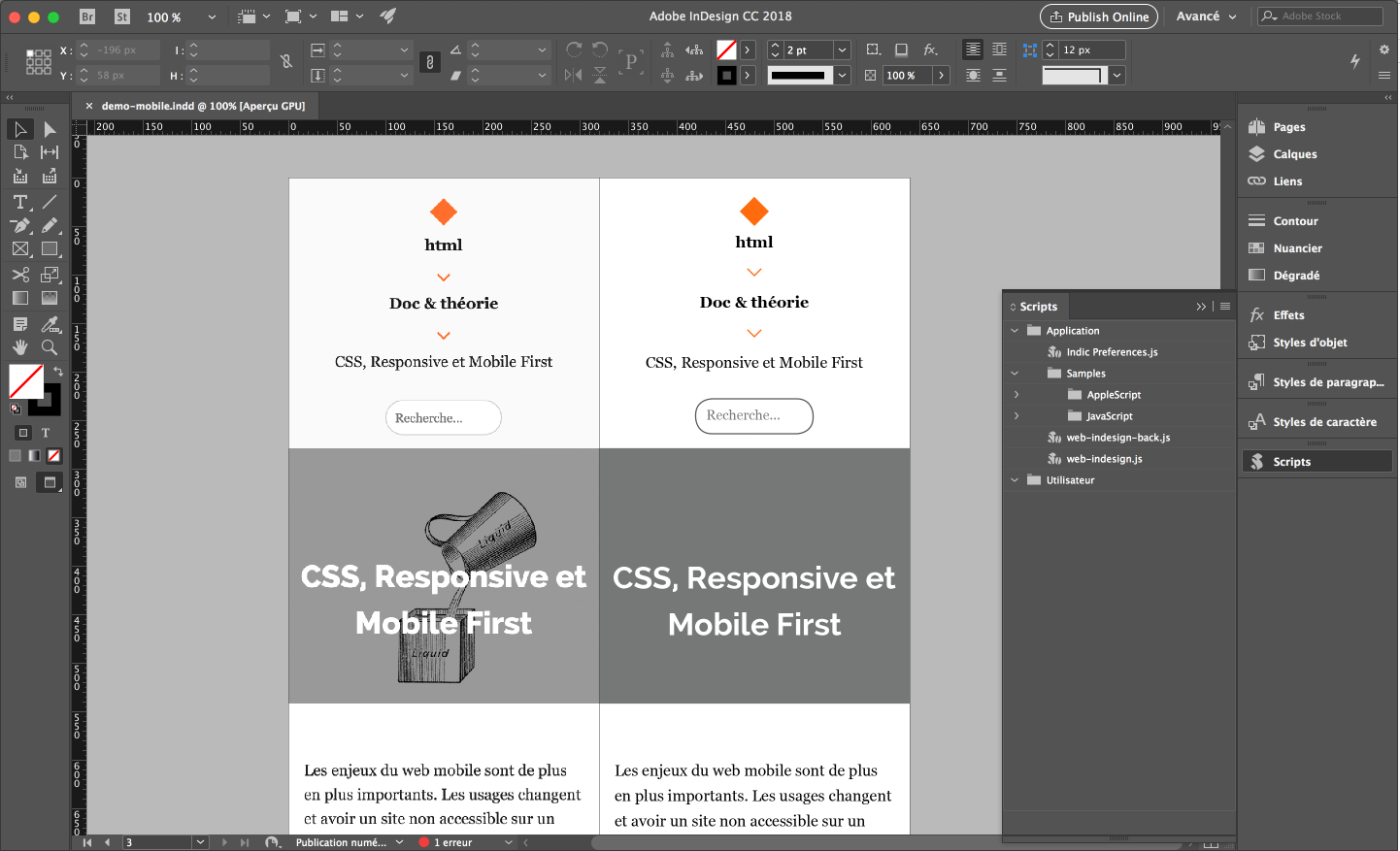 indesign pour le web