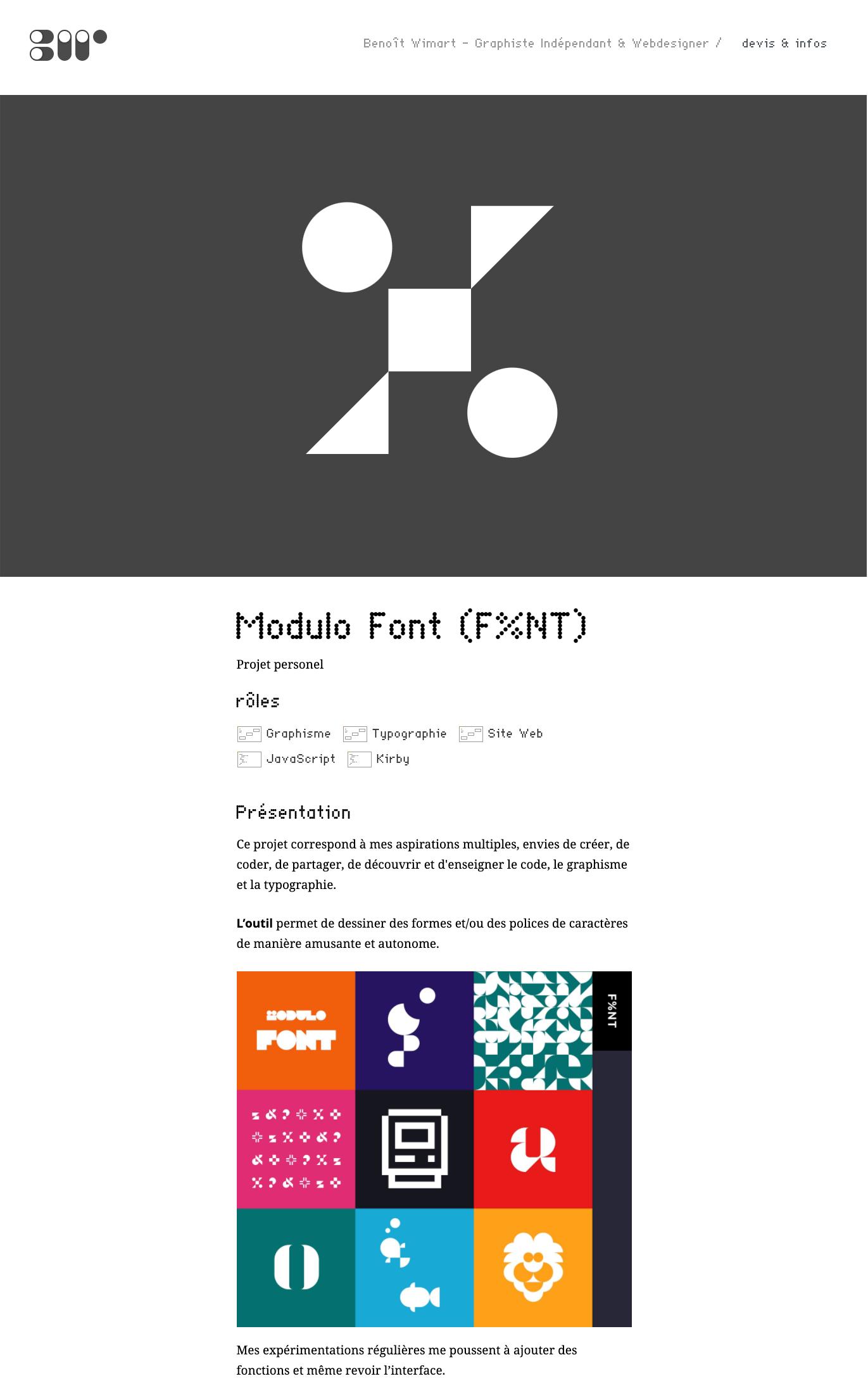 site web modulo font © benoit wimart